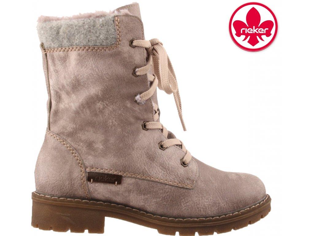 Zimní dvou polohové šedé boty polokozačky s kožíškem na nízkém podpatku Rieker y9122-42