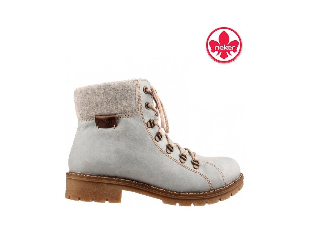 Zimní modré boty farmářky se šněrováním a zipem na podpatku RIEKER Y9142-10 výprodej 961988