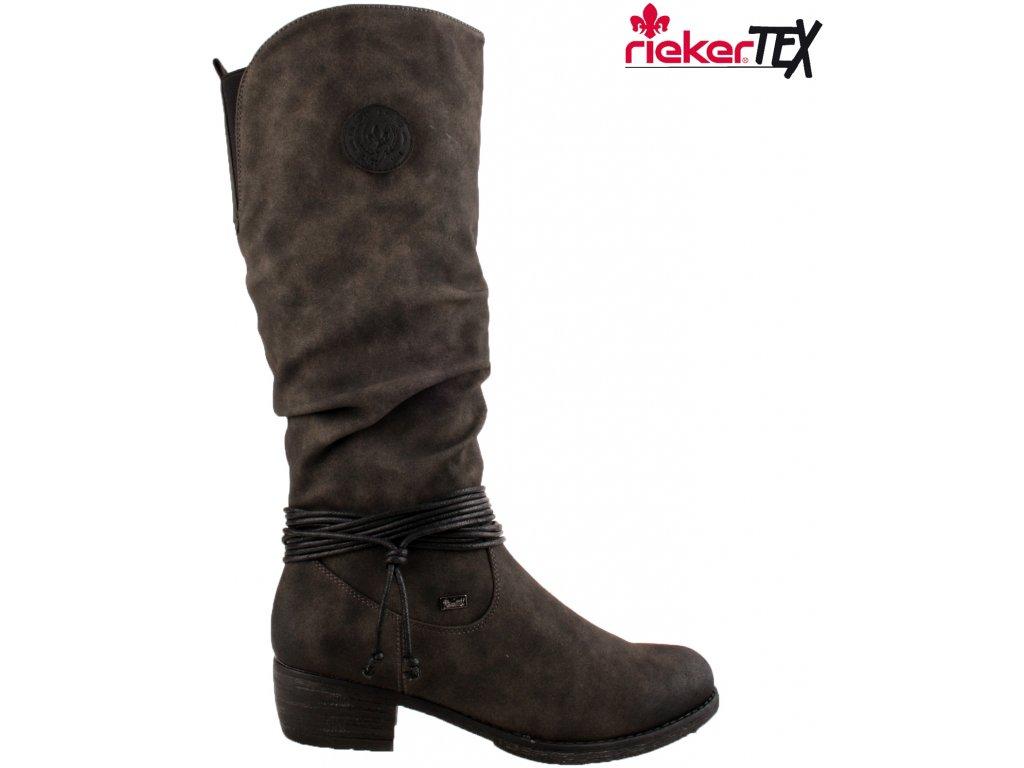 Nepromokavé šedé přizpůsobivé vario lýtko kozačky na podpatku - RIEKER-TEX 93154-45