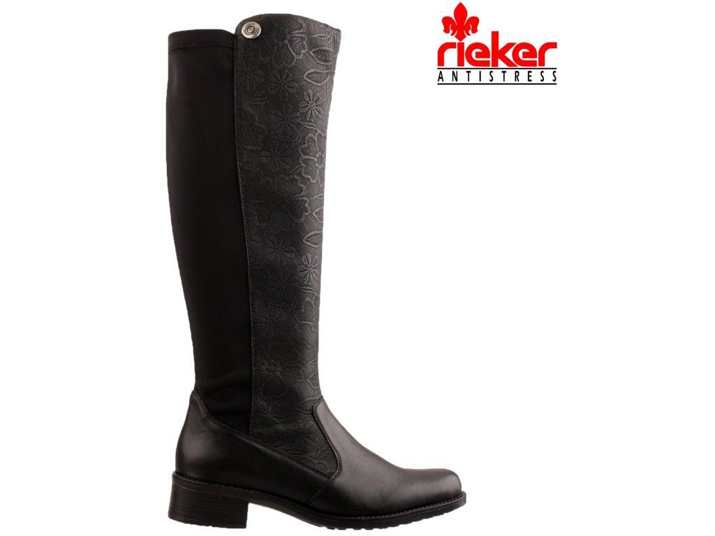 Černé přizpůsobivé vario kozačky nízký podpatek - RIEKER Z7391-01