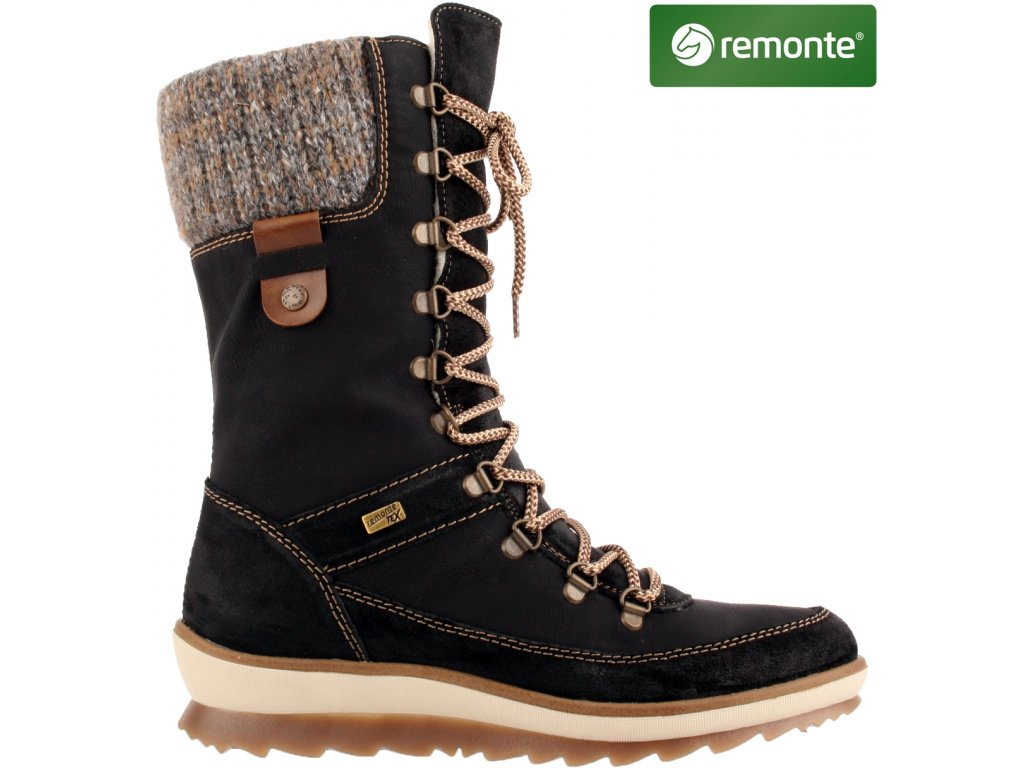 Zimní kožené nepromokavé boty farmářky se šněrováním a zipem RemonteTex R4371-02