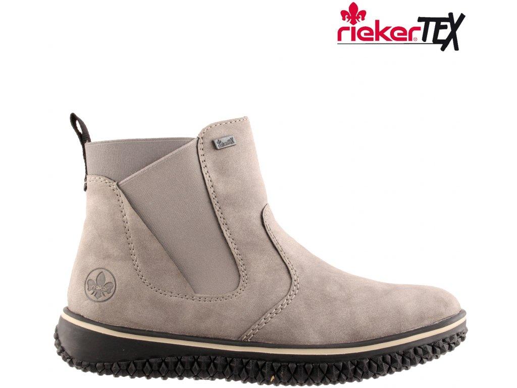 Šedé nepromokavé zateplené kotníkové polokozačky chelsea boty na klínku Rieker-Tex Z4294-40
