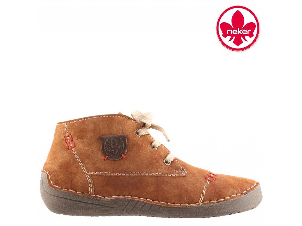 Zateplené dámské hnědé kotníkové zimní sportovní boty se šněrováním - Farmářky Rieker 52530-24 sleva 991472