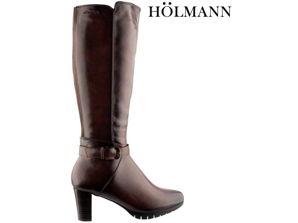 Polohovací tmavě hnědé přizpůsobivé vario kozačky na podpatku se zipem Holmann 953130045