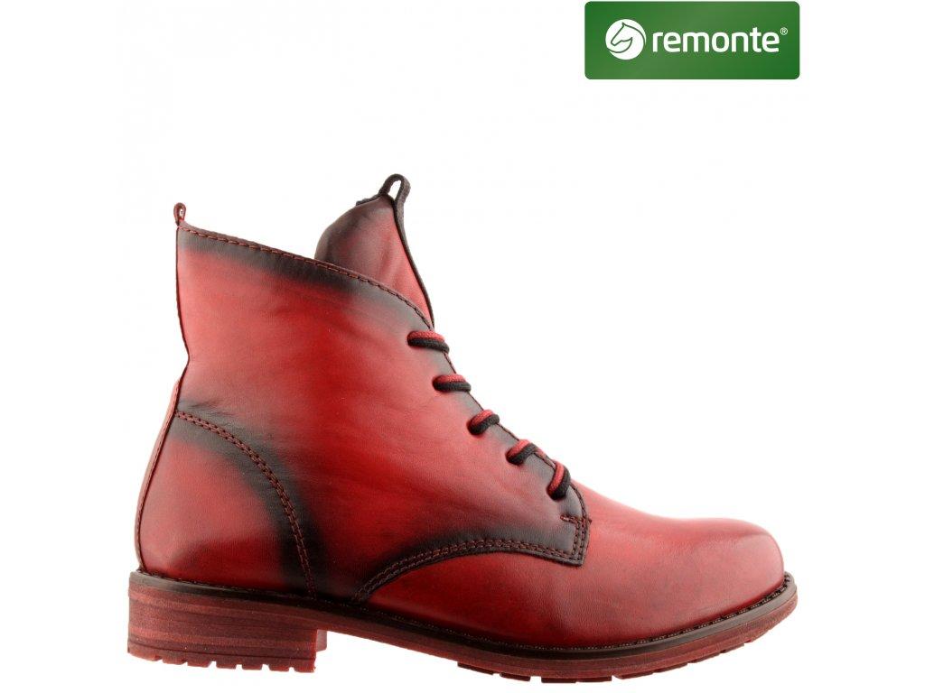 Dámské kožené červené kotníkové boty farmářky Remonte R5077-35