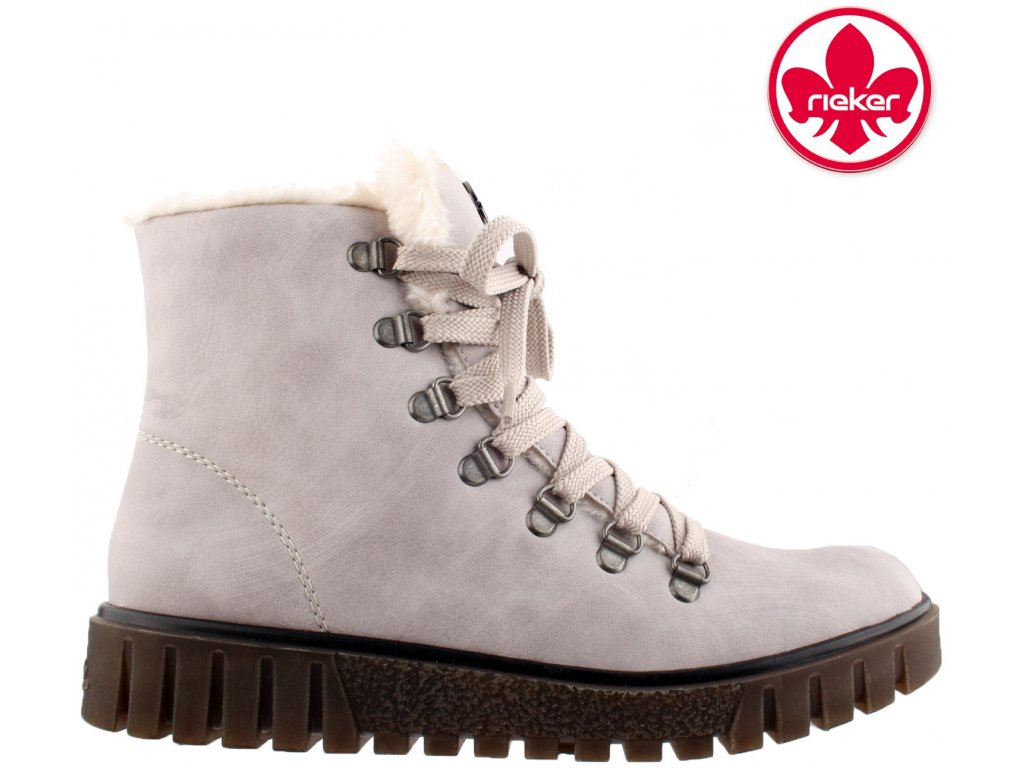 Dámské šedé zimní zateplené šněrovací kotníkové boty na nízkém klínku Rieker Y3432-60