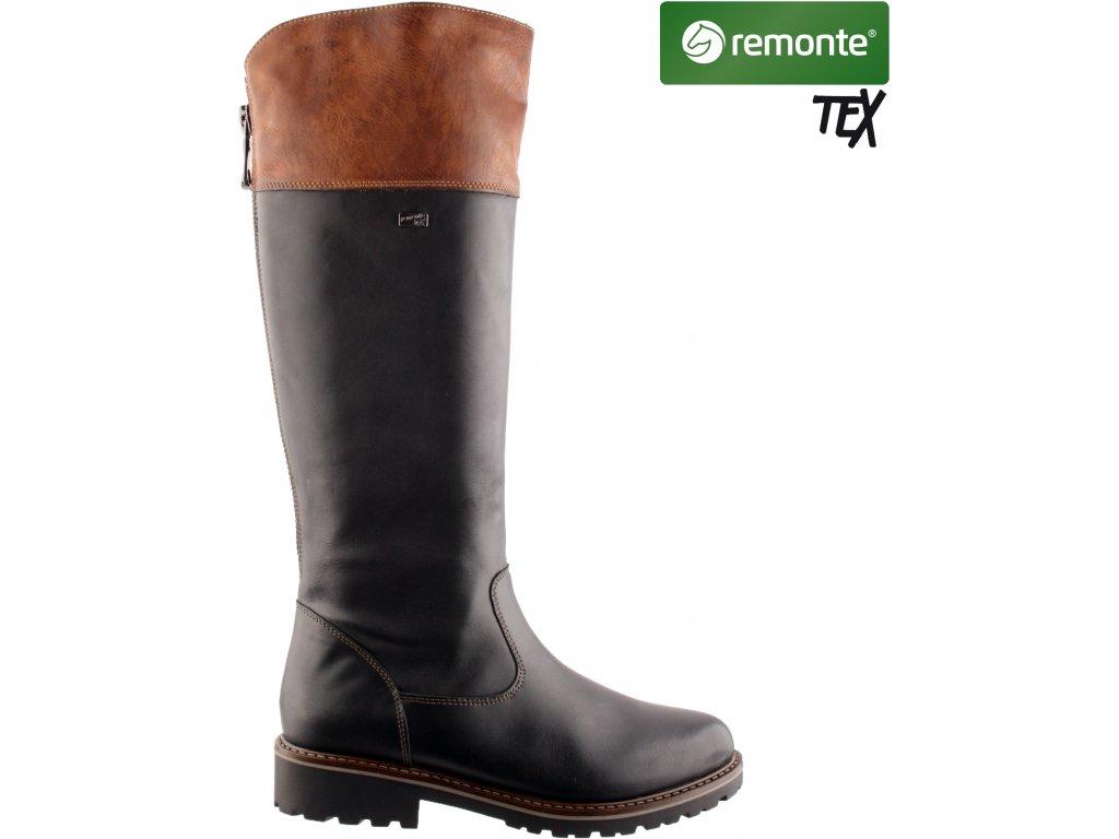 Nepromokavé kožené vysoké kozačky na podpatku Remonte-Tex na širší lýtko R6581-02