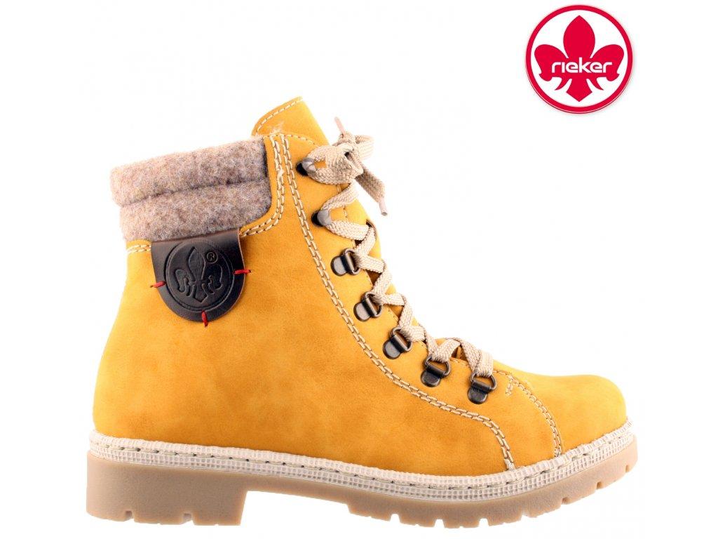 Dámská kotníková obuv RIEKER Y9430-68 žlutá 961987