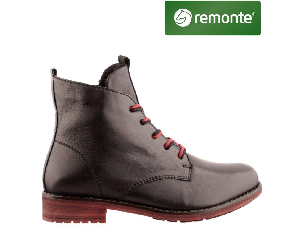 Dámské kožené černé kotníkové boty farmářky Remonte R5077-01