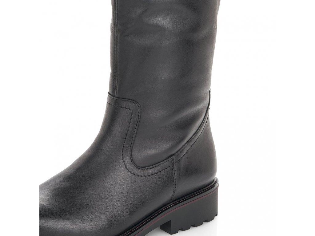 Kožené vysoké černé kozačky na podpatku Remonte VARIO lýtko R6576-01