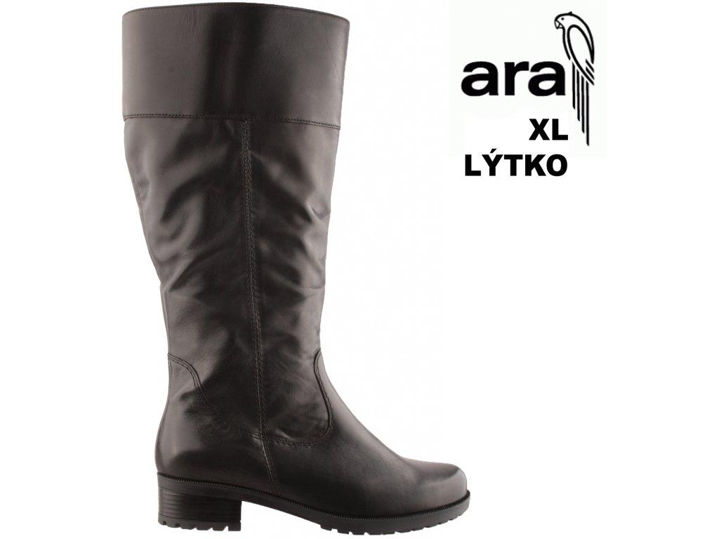 Kožené černé dámské kozačky na široké XL lýtko na podpatku 12-49078 ARA