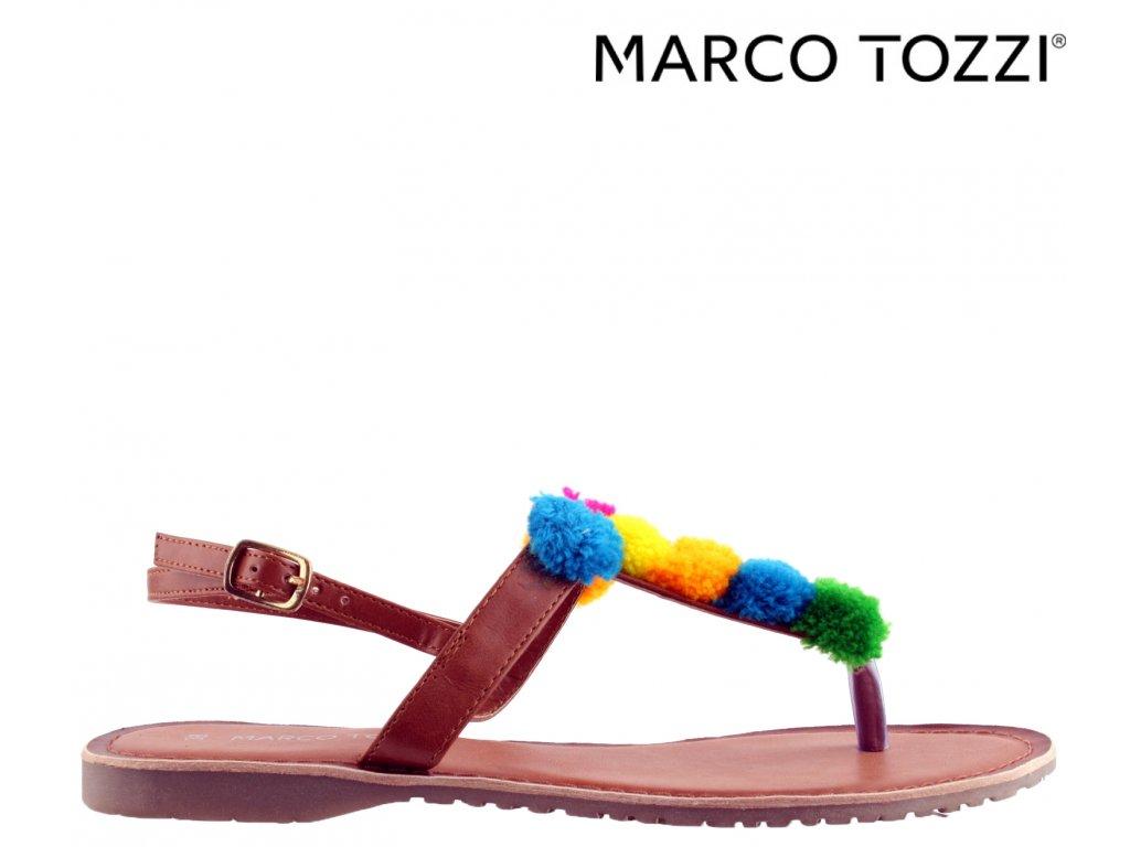 Dámské hnědé barevné letní páskové boty sandály Marco Tozzi výprodej 131723