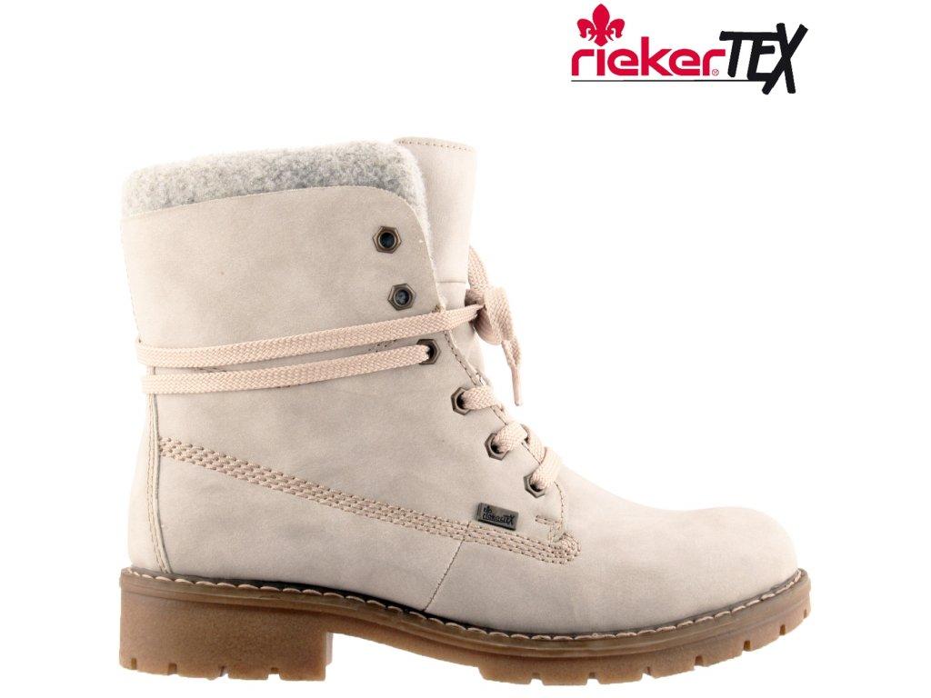 Nepromokavé šedé zimní kotníkové šněrovací boty farmářky na podpatku RiekerTex Y9144-41 výprodej