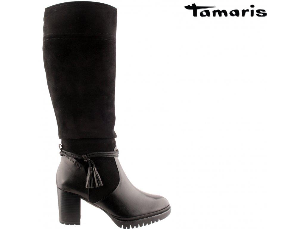Černé kožené semišové dámské kozačky na podpatku TAMARIS 56124338