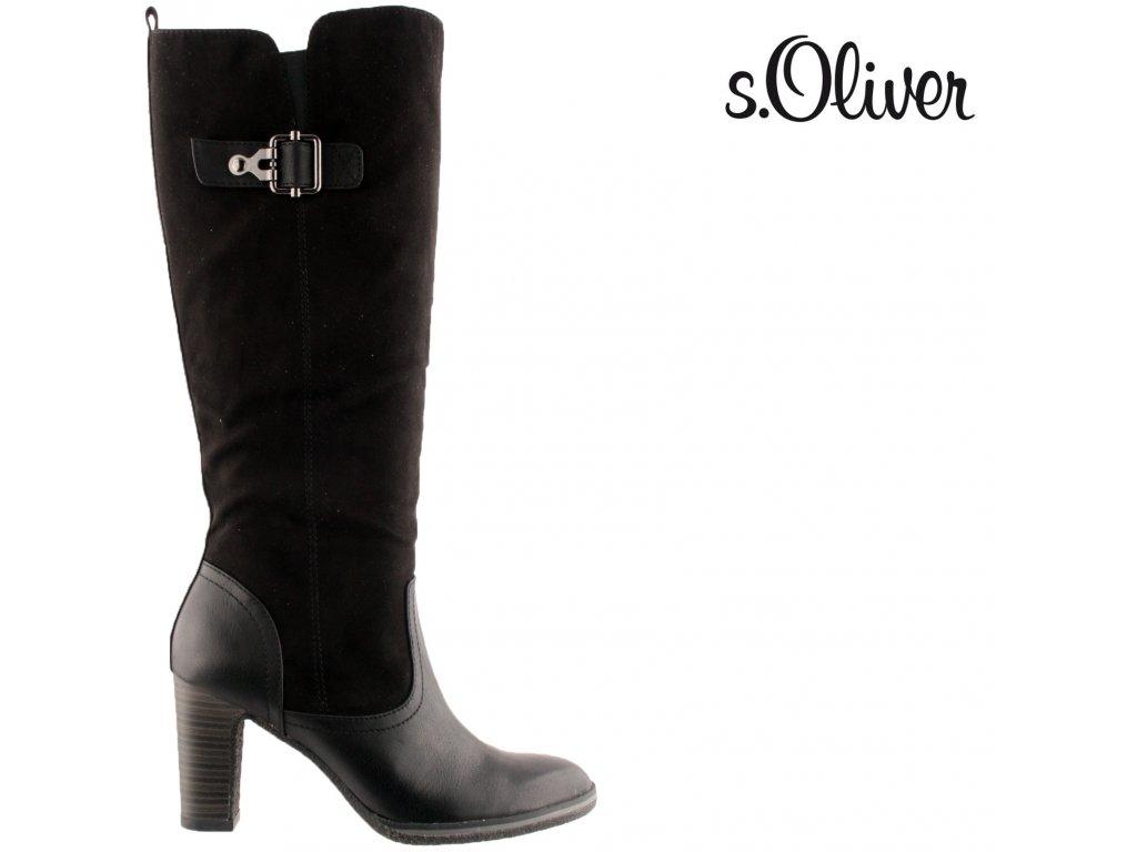 Černé semišové dámské kozačky na podpatku S.Oliver výprodej 97546266