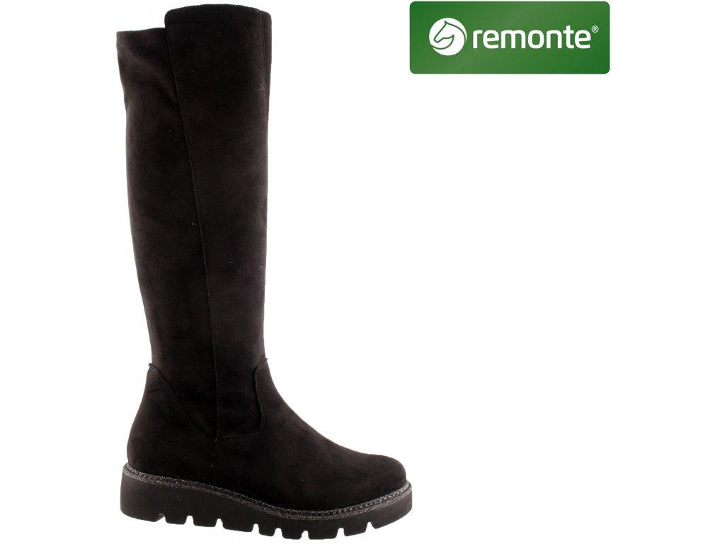 Černé kozačky na KLÍNKU XS úzké Stretch lýtko REMONTE výprodej R8071-02