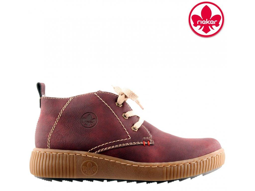 Zateplené bordó kotníkové zimní boty se šněrováním - Farmářky Rieker L6640-35 sleva 991496