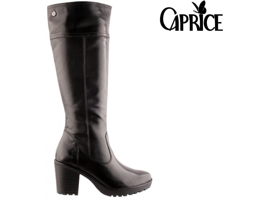 Kožené černé dámské kozačky na podpatku 9-9-25652-25 022 CAPRICE 2020