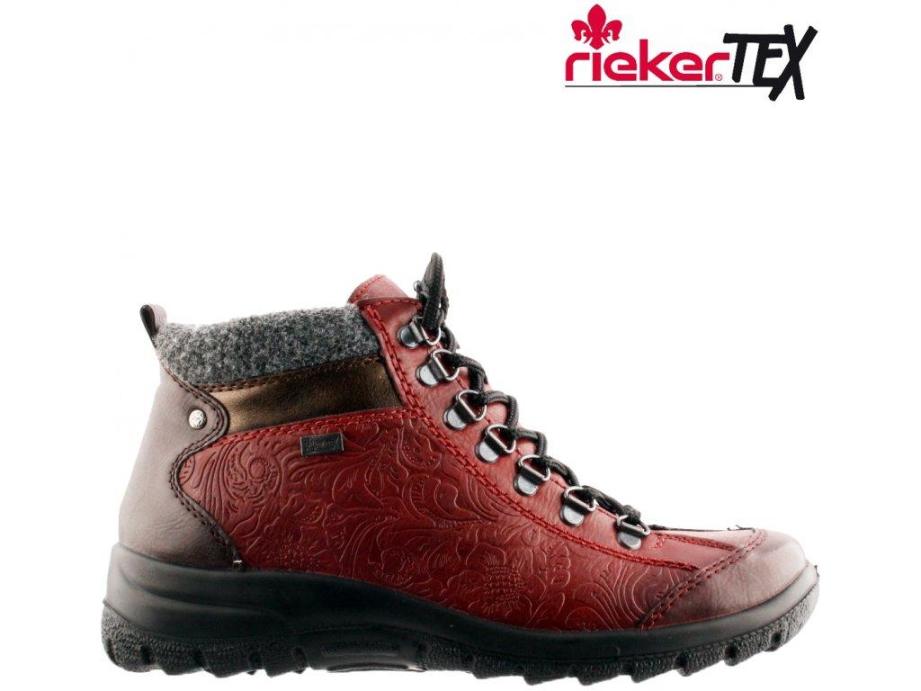 Nepromokavé bordó vínové zimní šněrovací boty na klínku L7144-35 Rieker-Tex 2020