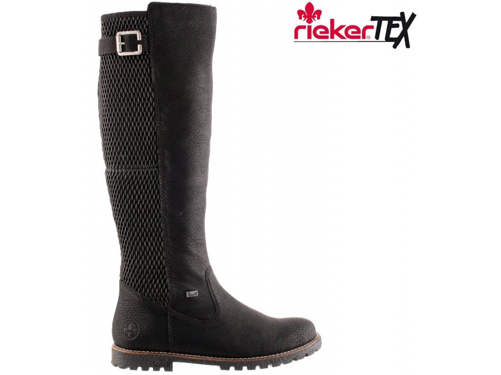 Nepromokavé vysoké černé přizpůsobivé kozačky se zipem a gumou přes lýtko s kožešinou - RIEKER-TEX y4292-00