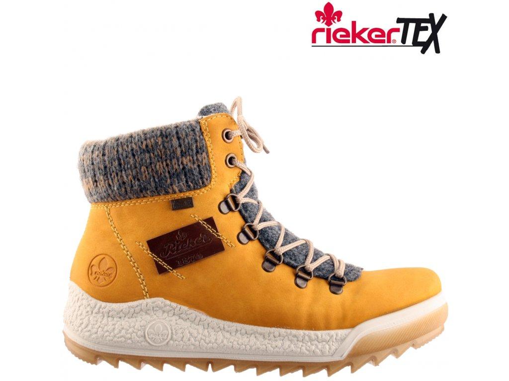 Dámská kotníková obuv RIEKER Y4730-68 žlutá