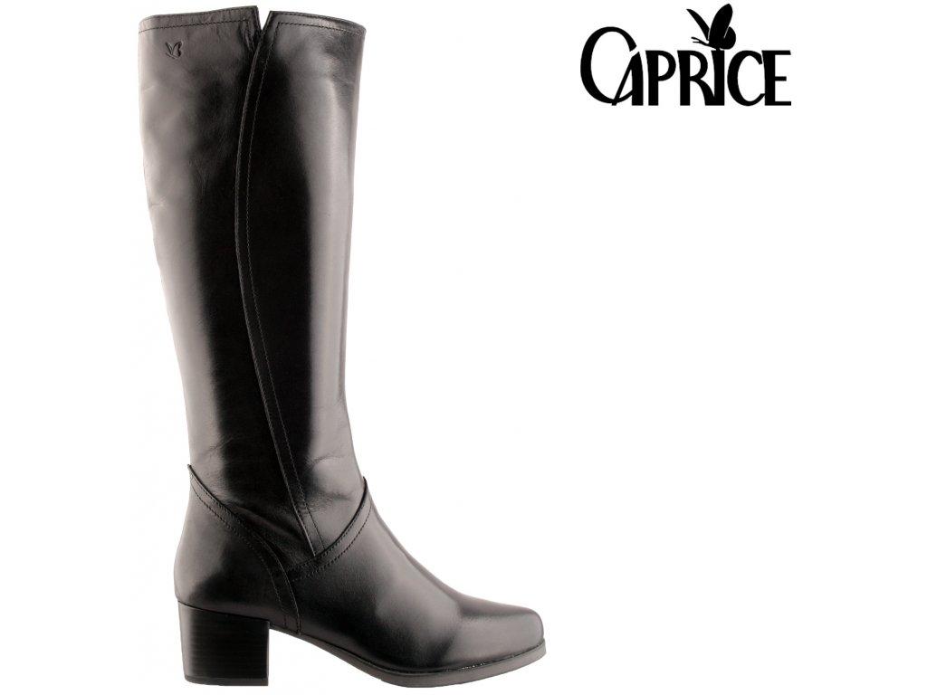 Kožené černé dámské kozačky na podpatku 9-9-25513-25 022 CAPRICE 2020