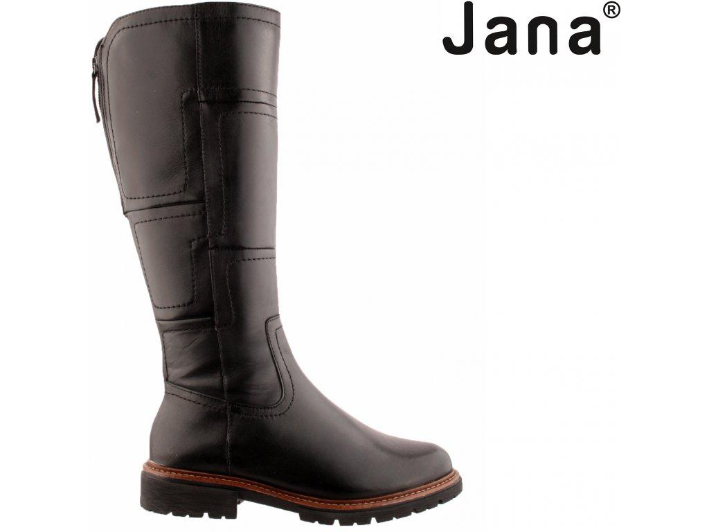 Černé kožené dámské kozačky na podpatku široké XL lýtko Jana 8-25508-27 001