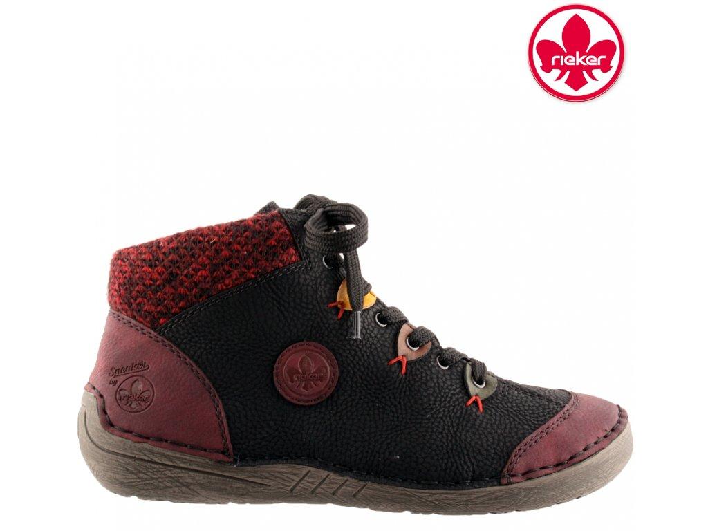 Černé bordó dámské kotníkové boty na nízkém klínku  - RIEKER 52513-36