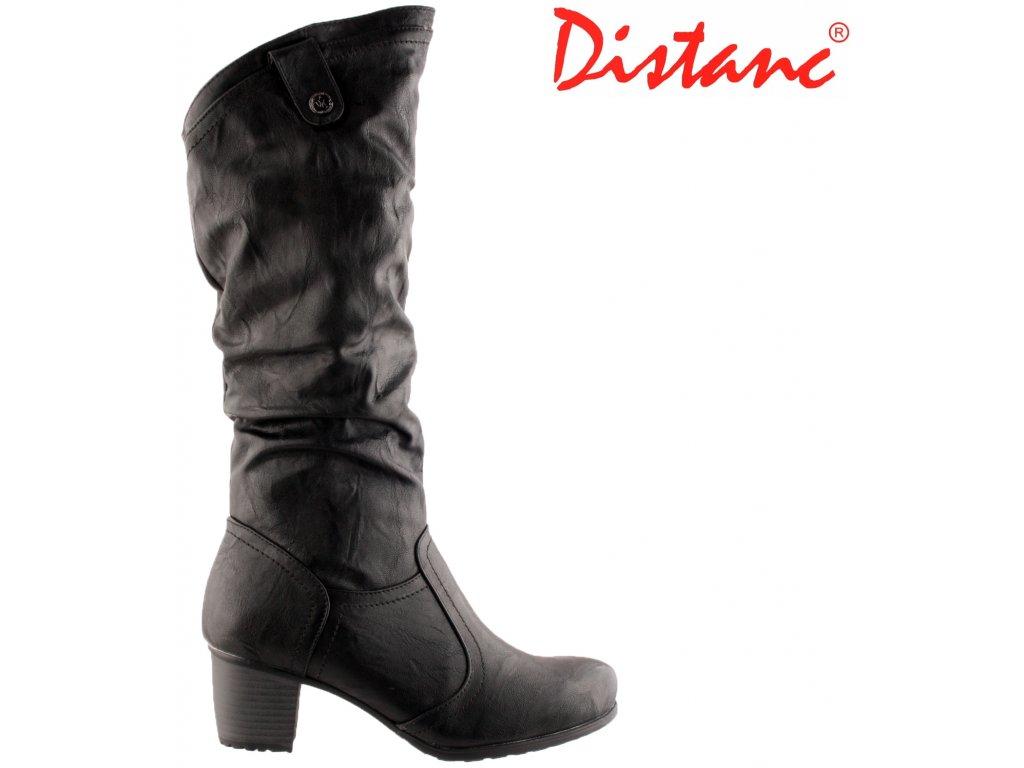 Černé nakrčené kozačky na nízkém podpatku se zipem Distanc LO053643060