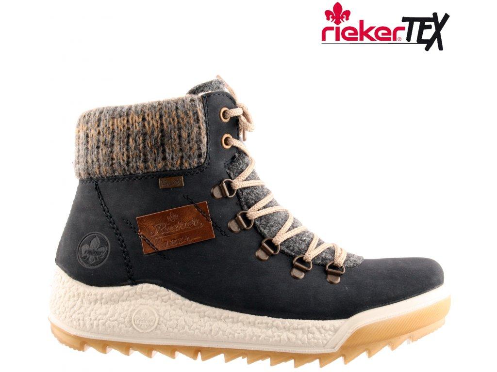 Nepromokavé modré dámské zimní kotníkové boty s kožíškem Farmářky  - RIEKER-TEX Y4730-14