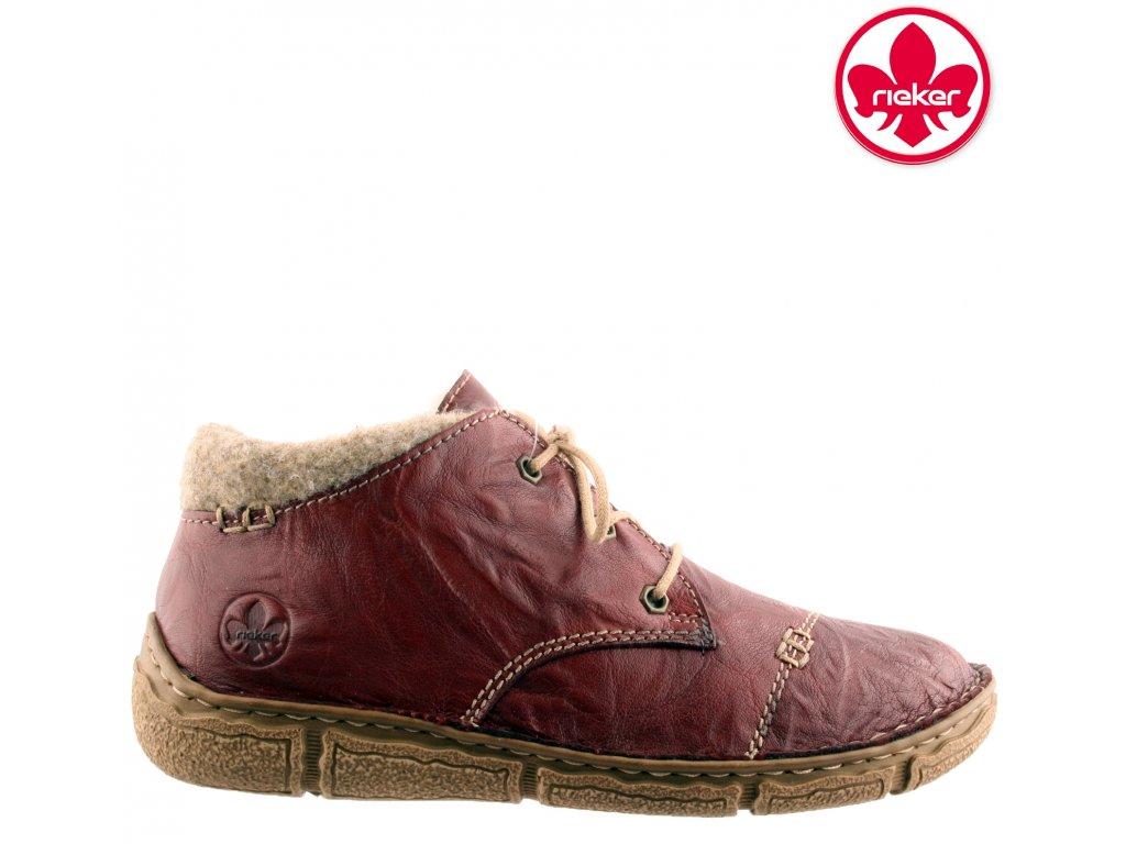 Kožené zateplené bordó vínové červené šněrovací kotníkové boty Rieker L3742-36