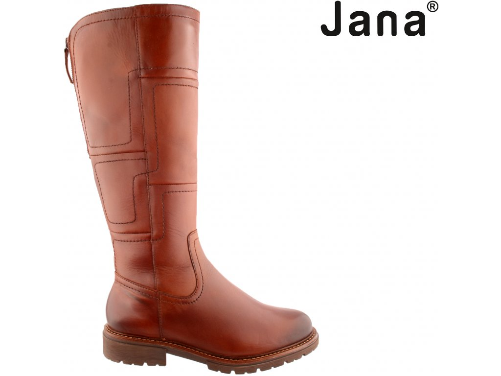 Hnědé dámské kozačky na podpatku široké XL lýtko Jana 8-25508-27 305