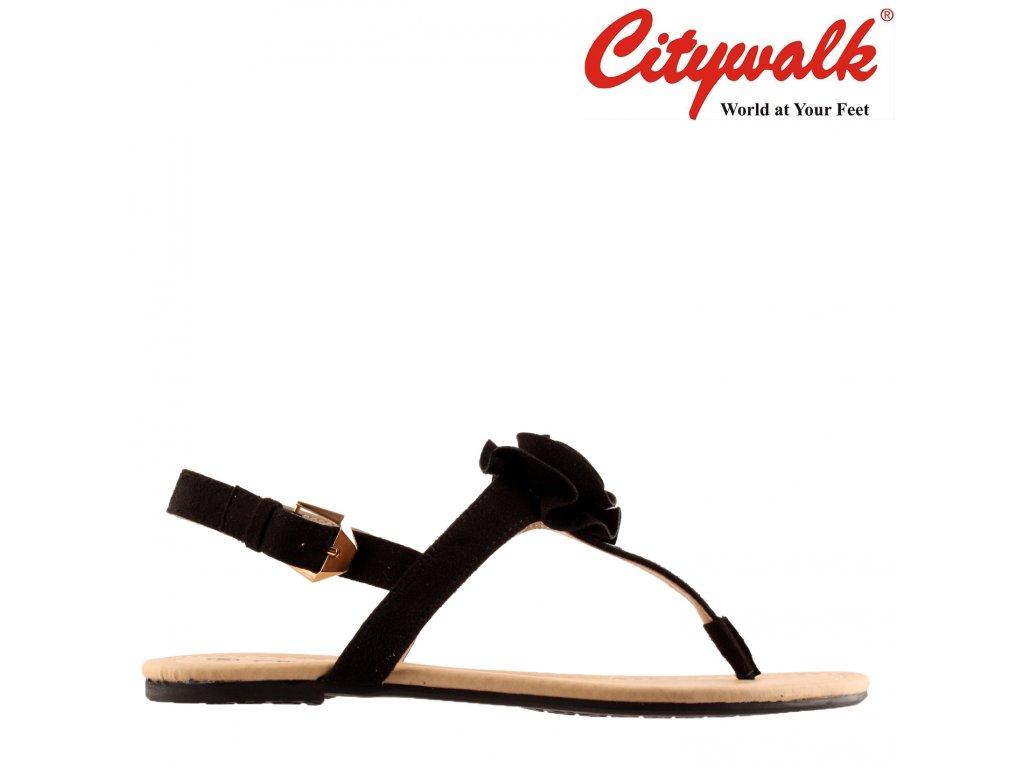 Dámské černé letní páskové sandály s ozdobou na nártu CityWalk 76727031