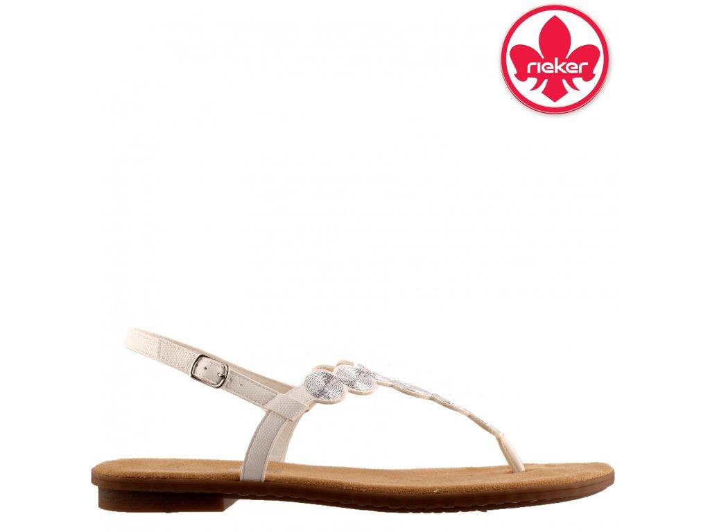 Bílé dámské sandály žabky mezi prst 64291-80 RIEKER sleva 58687135