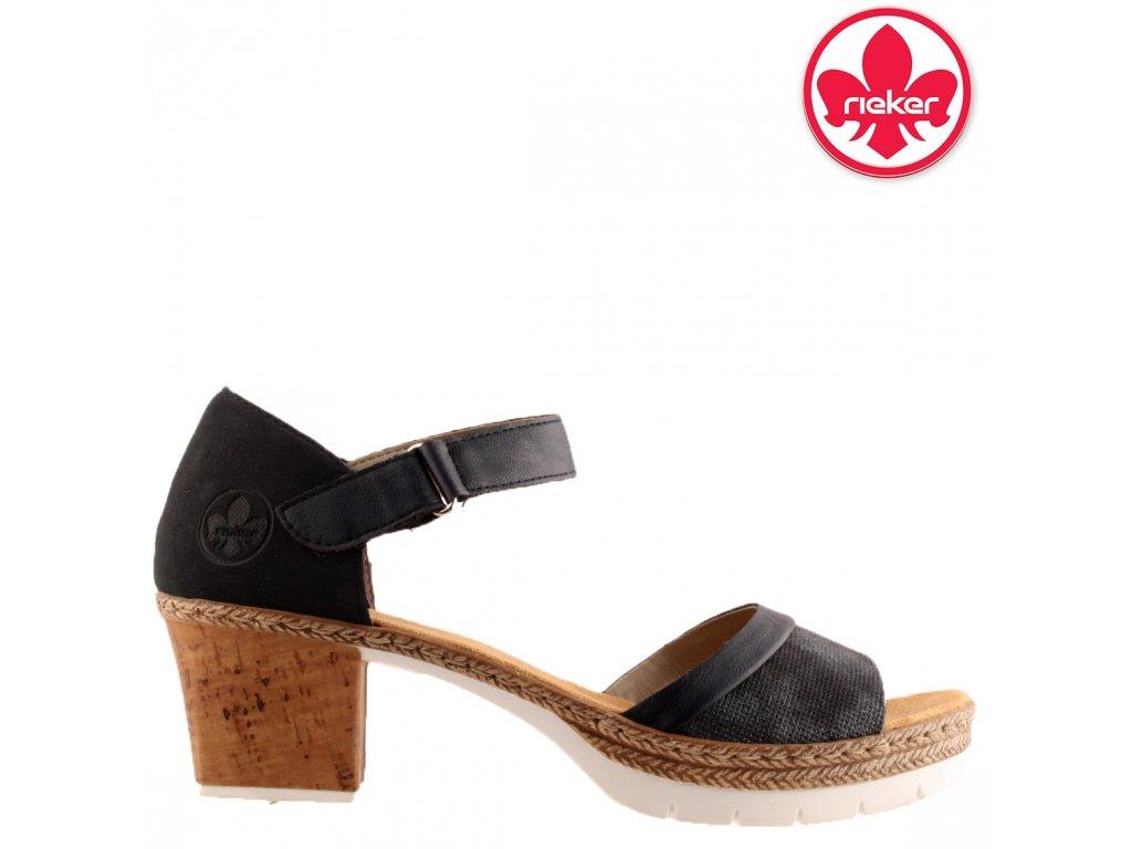 Páskové letní dámské sandály na podpatku V29A6-14 RIEKER výprodej 95874931