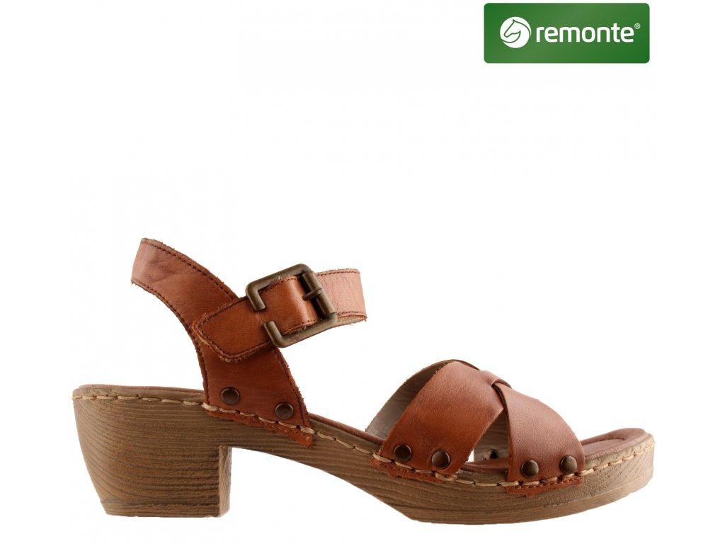 Hnědé kožené páskové dámské sandály na podpatku D6955-24 Remonte Sleva 60583808