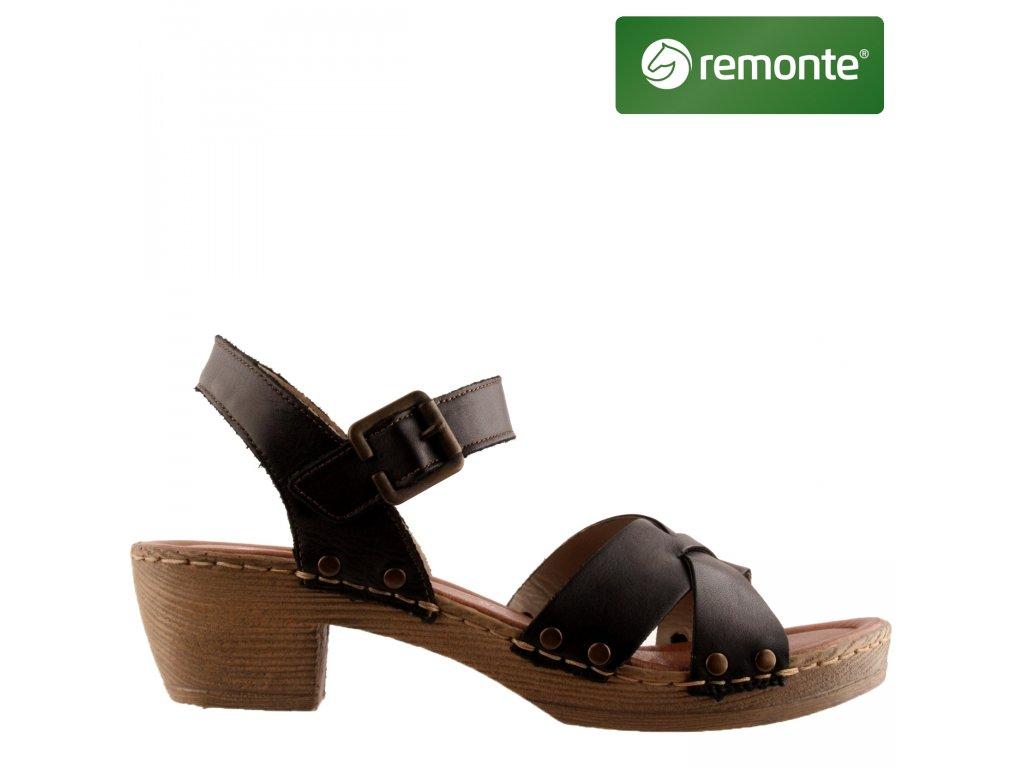 Černé kožené páskové dámské sandály na podpatku D6955-01 Remonte výprodej 33477722