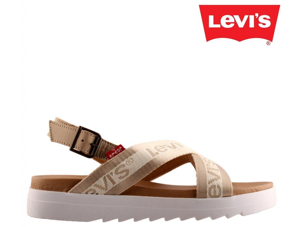 Kožené dámské sandály na nízkém klínku Levi´s  229824-860-59 výprodej 67904235