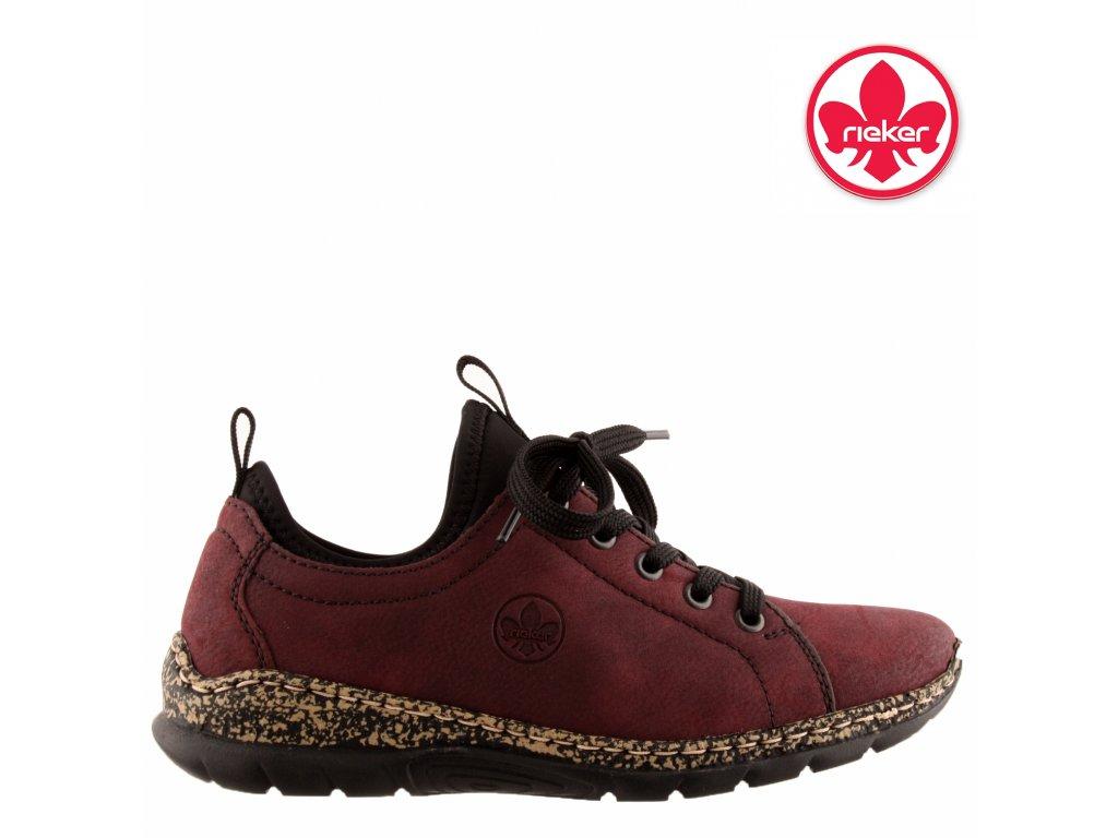 Dámské bordó vycházkové sportovní boty N42M2-35 RIEKER výprodej stelka MemoSoft