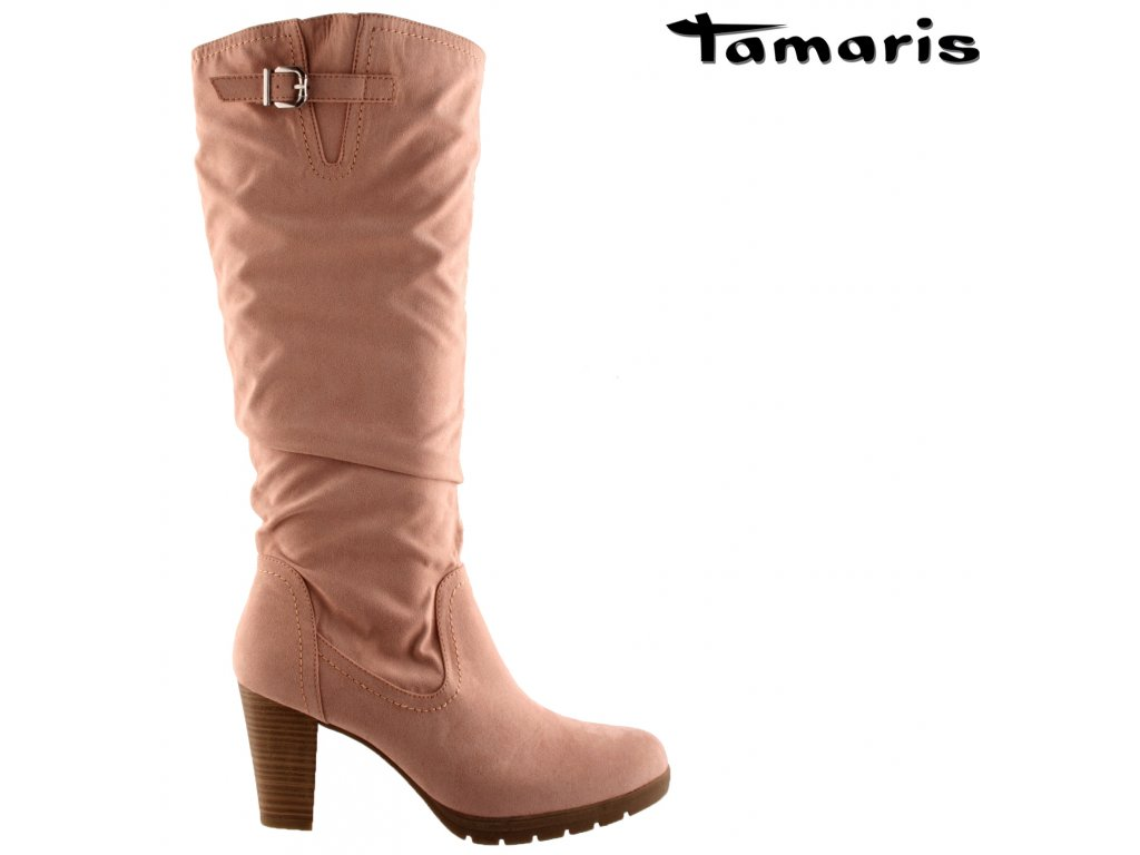 Růžové semišové dámské kozačky na podpatku TAMARIS 834859 výprodej