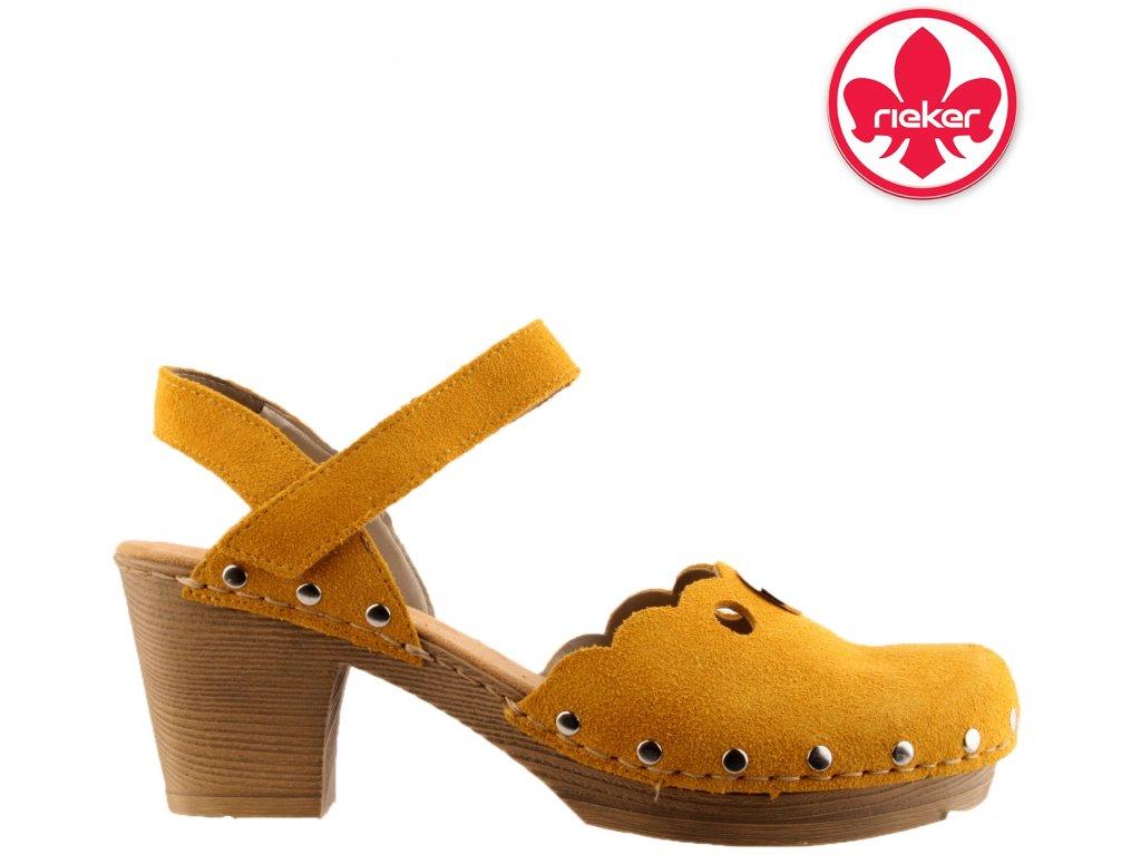 Kožené žluté dámské sandály na podpatku 66765-68 Rieker výprodej 25615253