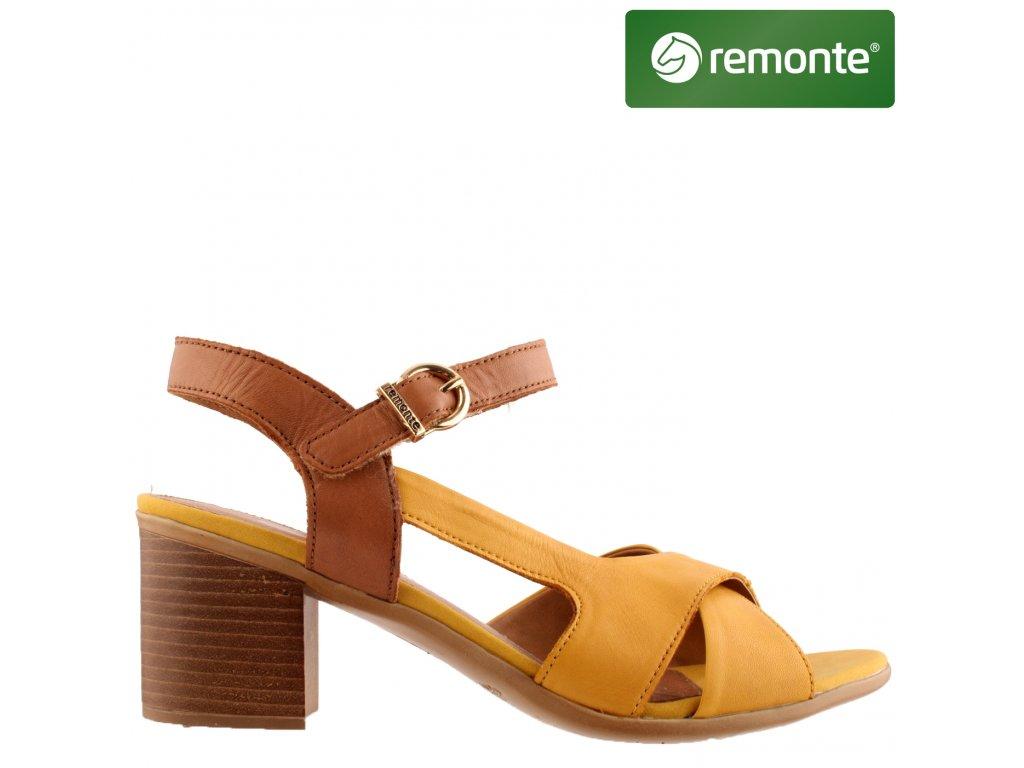 Hnědé žluté kožené páskové dámské sandály na podpatku D2151-68 sleva REMONTE 50433957