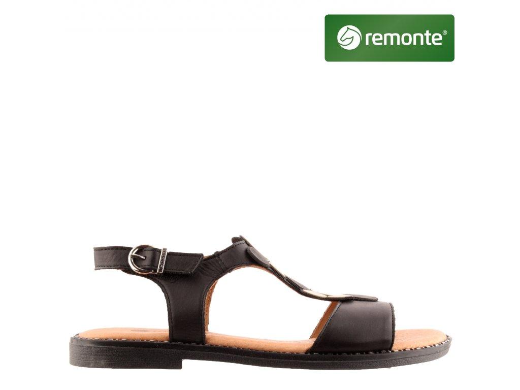 Černé kožené páskové dámské sandály na podpatku D3655-01 Remonte sleva 32927018