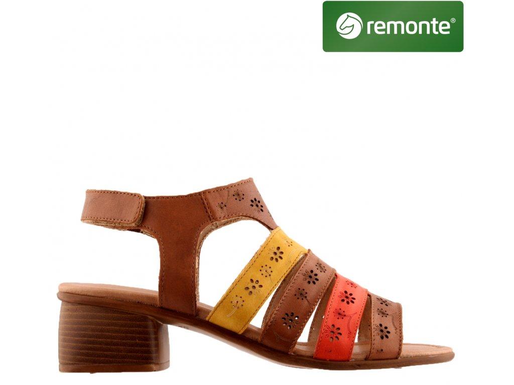 Hnědé žluté červené kožené páskové dámské sandály na podpatku R8764-24 sleva REMONTE 69923823
