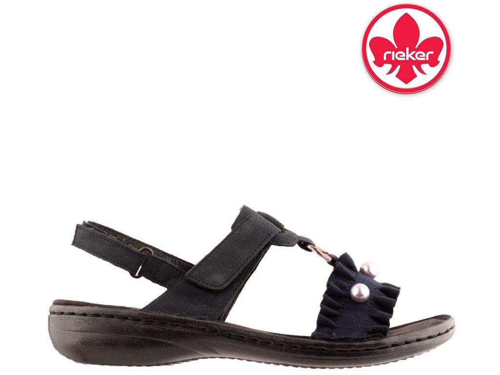 Černé modré dámské sandály RIEKER 608B5-14 Výprodej 58113060