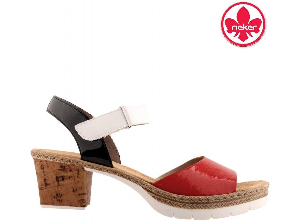 Červené  modré bílé lakované dámské sandály na podpatku V2953-33 RIEKER sleva 88562800