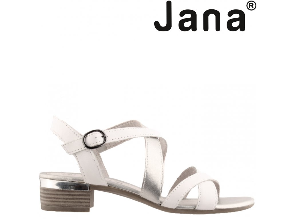 Kožené páskové dámské sandály na podpatku JANA 8-28256-24 sleva 48336533