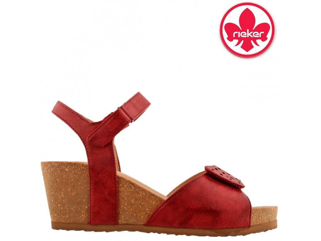 Červené dámské sandály na klínku na suchý zip RIEKER V8355-35 sleva 81255911 anatomická stélka