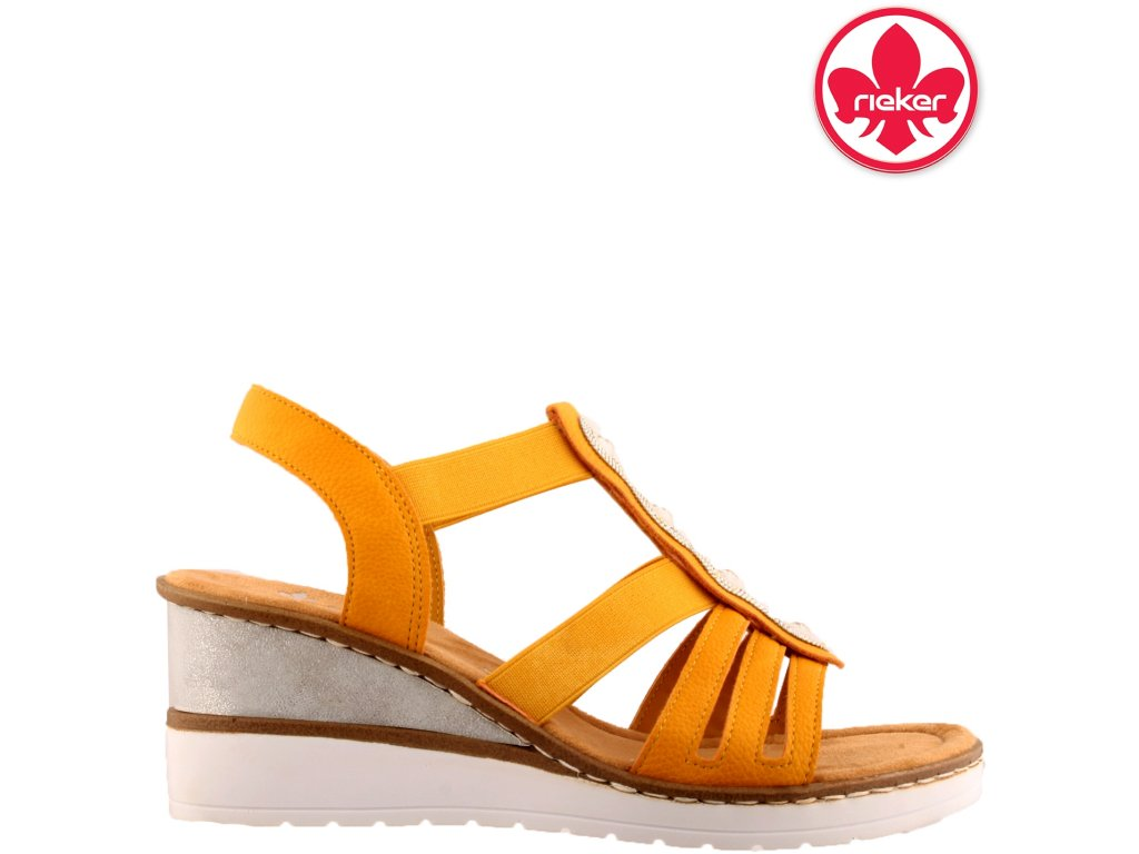 Sandály na klínku Rieker s gumou V3572-68 sleva 25881945
