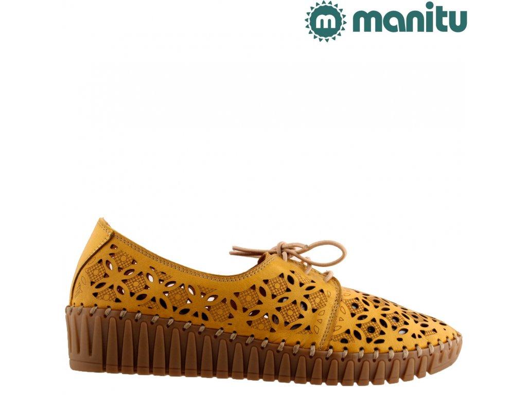 Celo-Kožené dámské žluté děrované boty sandály na klínku MANITU 840810
